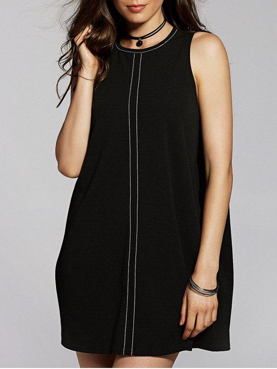 Back Cut Out Round Neck Sleeveless Straight Dress Black S