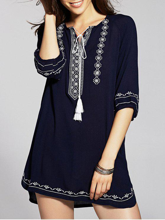 Tie Neck Tunic Dress - Azul Marino  Un tamaño(Montar tam