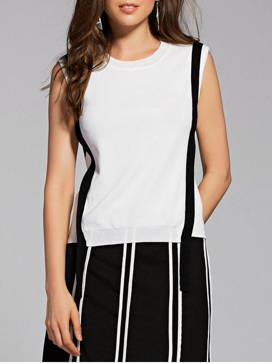 women's Knitted Round Neck Stripes Tank Top - WHITE ONE SIZE(FIT SIZE XS TO M)