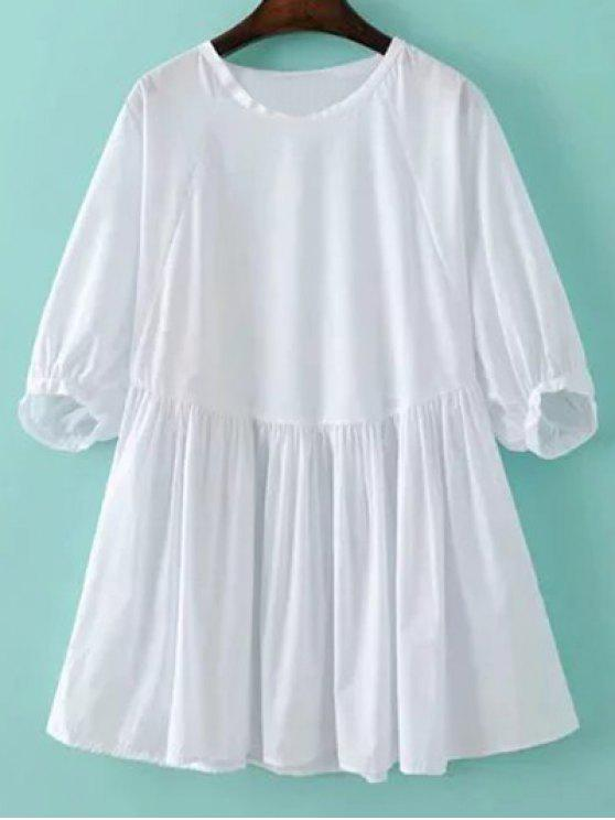 sale Round Neck Poplin Smock Dress - WHITE M