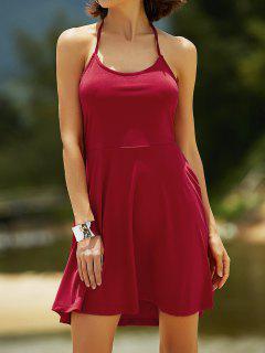 Ausschnitte Schnürung Halter ärmelloses Kleid - Rot S