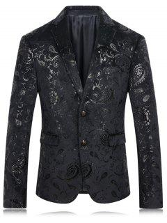 Golden Flower Print Lapel Long Sleeve Blazer For Men - Black M