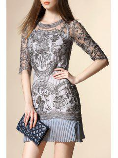 Embroidery See Through Pleated Dress - Gray S