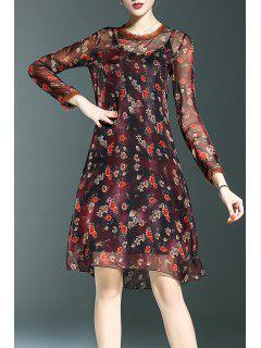 Tiny Floral Dress And Cami Dress - Tea-colored S