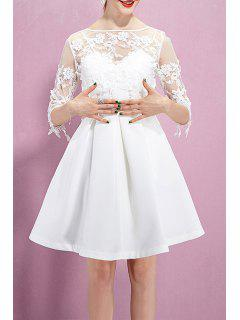 Lace Flower Embroidered See Through Dress - White Xs