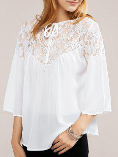 White Lace Chiffon-Oberteil - Weiß Xl