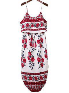 Las Correas De Espagueti De La Impresión Floral Vestido De Corte Lateral - Rojo S