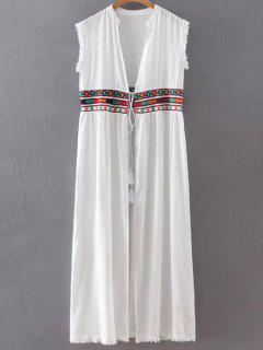 Collarless Fringe Drawstring Embroidered Waistcoat - White S