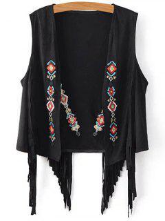 Tassels Embroidery Faux Suede Waistcoat - Black S
