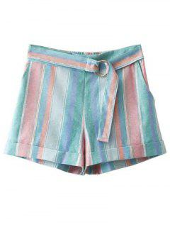 High Waist Striped Sugar Color Belted Shorts - Light Blue M