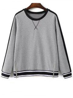 Zip Hem Gray Sweatshirt - Gray S