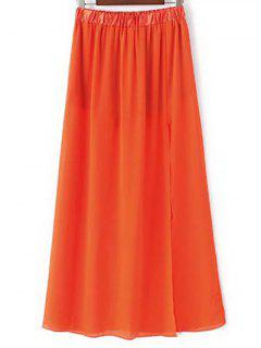 High Waist A-Line High Slit Solid Color Skirt - Jacinth M