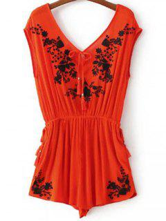 Embroidered Double V-Neck Romper - Jacinth S