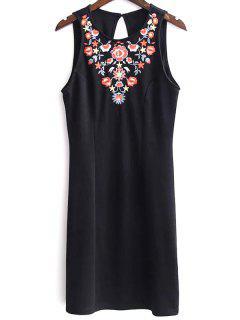 Sleeveless Embroidered Black Dress - Black M