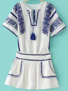 Embroidered Two-Piece Porcelain Dress - Blue And White M