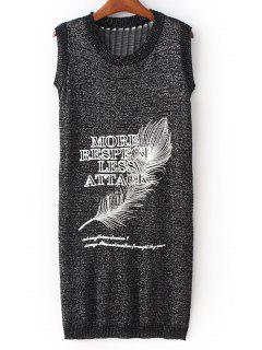Feather Print Round Neck Sleeveless Dress - Deep Gray