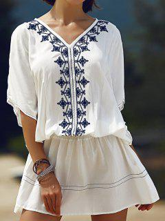 Batwing Sleeve Embroidered Dress - White S