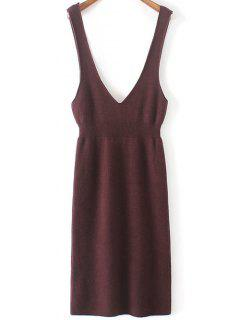 Plunging Neck Sweater Dress - Purplish Red