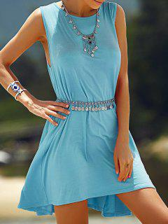 Solid Color Round Neck Sleeveless Dress - Azure S