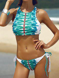 High-Neck String Printed Bikini Set - White And Green M