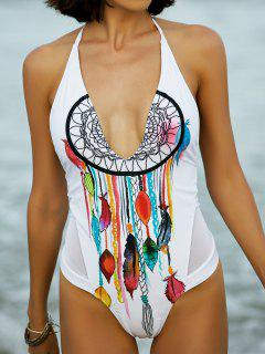 Mesh Inset Halter Swimsuit - White Xl