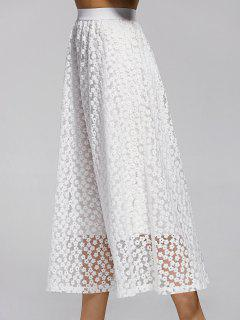 Hollow Out High Waisted Lace Skirt - White
