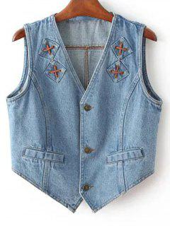 Criss Cross Bleach Wash Denim Waistcoat - Light Blue S