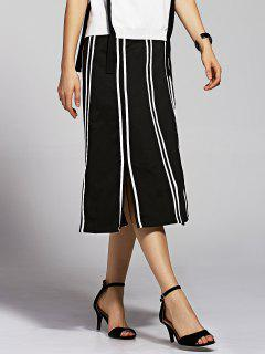 Striped High Waisted Slit Skirt - Black M