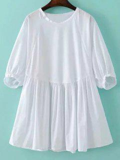 Round Neck Poplin Smock Dress - White M