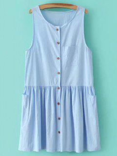 La Luz Azul Con Cuello Redondo Vestido De Tirantes - Azul Claro M