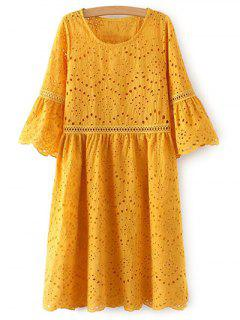Hollow Out Round Neck Half Sleeve Dress - Yellow S