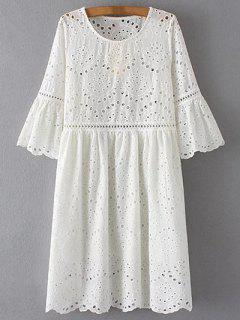 Hollow Out Round Neck Half Sleeve Dress - White S