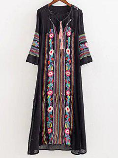 Ethnic Embroidery 3/4 Sleeves Dress - Black M