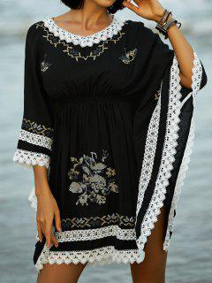 Loose Ethnic Print Round Neck Bat-Wing Sleeve Dress - Black