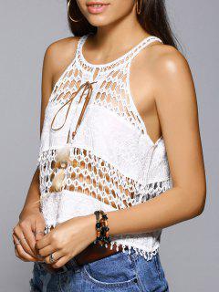 Halter Crochet Top - Blanc