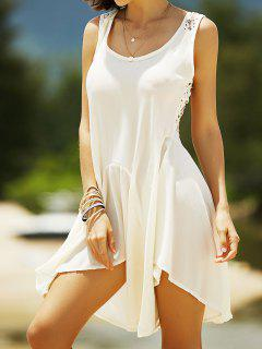 Lace Back Irregular Dress - Off-white S