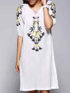 Embroidered Straight Dress - Off-white
