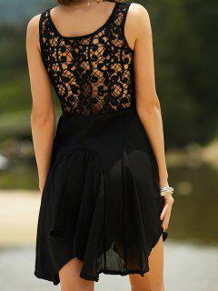 Lace Back Irregular Dress - Black Xl
