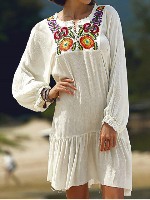 fancy Long Sleeve Embroidery Round Neck Dress - WHITE L Mobile