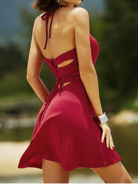 shops Cut Out Lace-Up Halter Sleeveless Dress - RED S Mobile