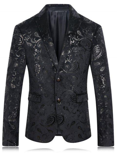 Oro impresión de la flor de la solapa de manga larga chaqueta para los hombres - Negro M Mobile