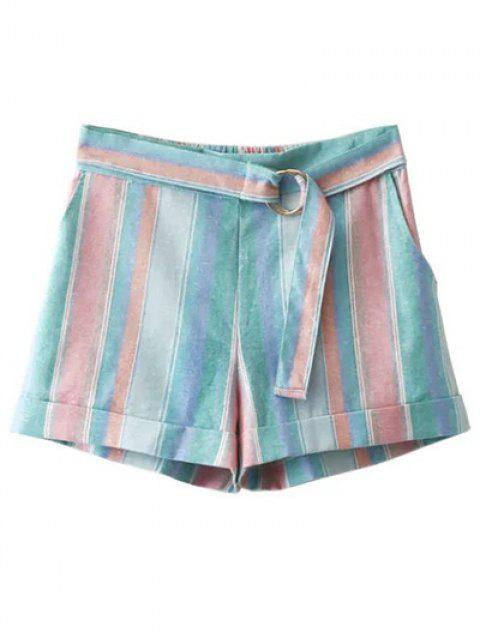 hot High Waist Striped Sugar Color Belted Shorts - LIGHT BLUE M Mobile