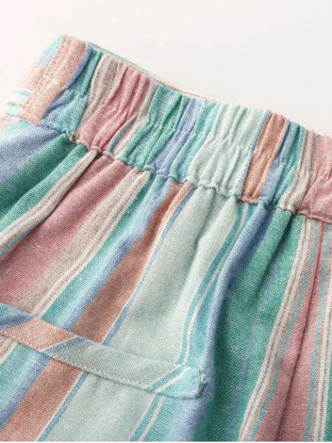 hot High Waist Striped Sugar Color Belted Shorts - LIGHT BLUE M Mobile