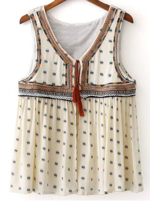 hot Delicate Embroidery Short Waistcoat - OFF-WHITE M Mobile