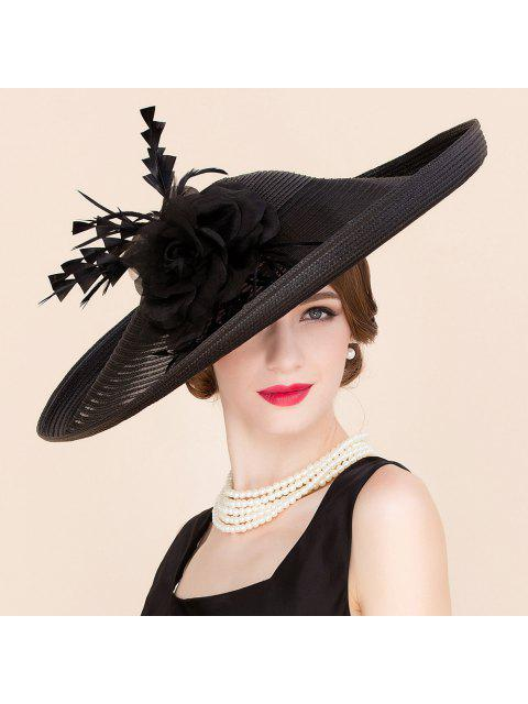 lady Black Straw Cocktails Hat - BLACK  Mobile