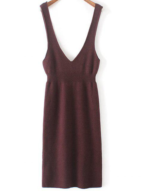 best Plunging Neck Sweater Dress - PURPLISH RED ONE SIZE(FIT SIZE XS TO M) Mobile