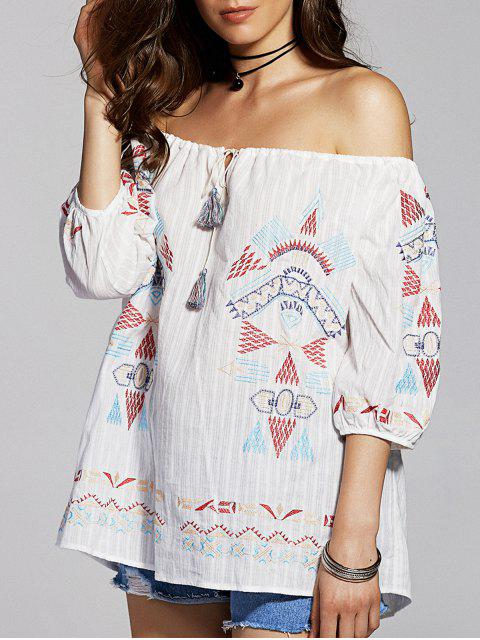 affordable Geometric Embroidery Scoop Neck 3/4 Sleeve T-Shirt - WHITE L Mobile
