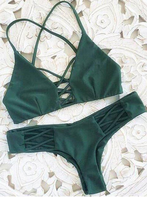 sale Spaghetti Straps Hollow Out Strappy Bikini Set - GREEN M Mobile
