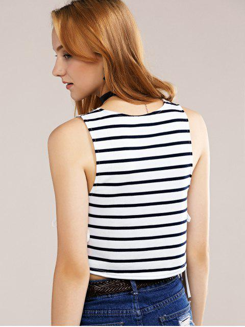 new Side Lace-Up Tank Top - BLUE AND WHITE XL Mobile
