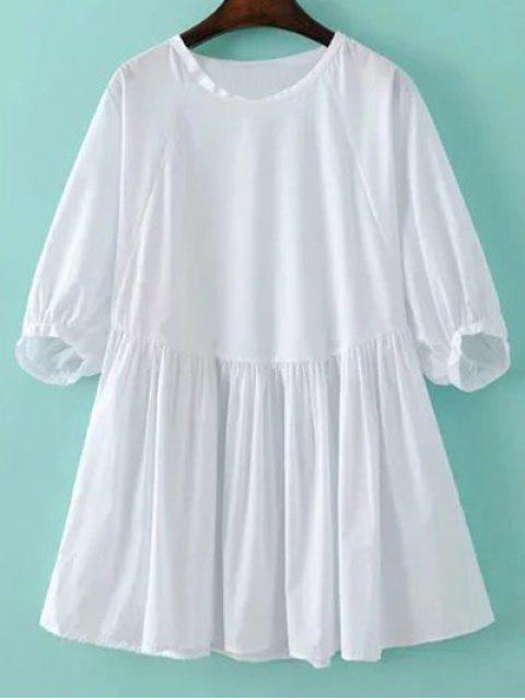sale Round Neck Poplin Smock Dress - WHITE M Mobile
